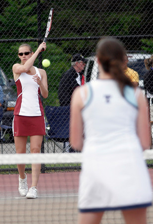 Gloucester: Gloucester's Olivia Lufkin plays Triton's Molly Fargeorge in the Quarter Finals of the MIAA Division 2 North Tennis Tournament at Gloucester High School yesterday afternoon. Photo by Kate Glass/Gloucester Daily Times
