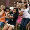 Rockport: Rockport eighth grade girls, including, from left, Katharine Boucher, Alexandra Paradis, Kim McEachern and Chelsea MacDowell, pull with all their might during a tug of war with the sixth grade girls during Field Day Thursday afternoon.  This was the last event of the day before students were dismissed for summer vacation. Mary Muckenhoupt/Gloucester Daily Times