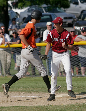 Gloucester: Gloucester first baseman Adam Philpott cheers after the fishermen get a double play against Wayland in the first round of the MIAA Division 2 North Baseball Tournament at Nate Ross Field yesterday afternoon. Photo by Kate Glass/Gloucester Daily Times