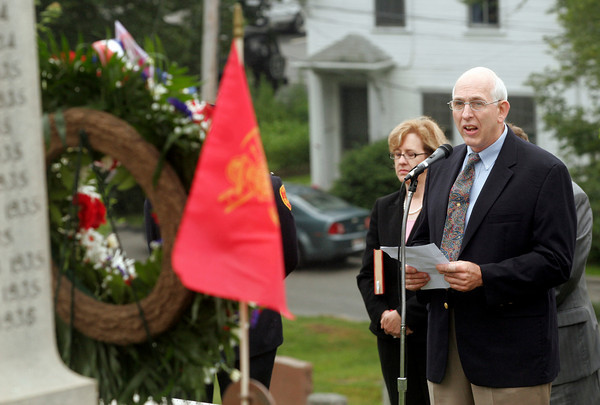 Gloucester: Former Gloucester Fire Chief Barry McKay was the guest speaker during the Firefighters Memorial Service held Sunday morning at Cherry Hill Cemetery. Photo by Kate Glass/Gloucester Daily Times