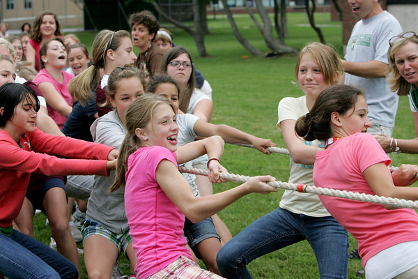 Rockport: Rockport sixth grade girls, including McKenzie Beaton, front,  pull with all their might during a tug of war with the eighth grade girls during Field Day Thursday afternoon.  This was the last event of the day before students were dismissed for summer vacation. Mary Muckenhoupt/Gloucester Daily Times