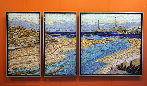Pam Stratton's mosaic of the twin lights. Photo by Kate Glass/Gloucester Daily Times