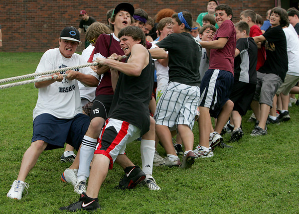 Rockport: Rockport eighth grade boys pull with all their might during a tug of war with the seventh grade boys for Field Day Thursday afternoon.  This was the last event of the day before students were dismissed for summer vacation. Mary Muckenhoupt/Gloucester Daily Times