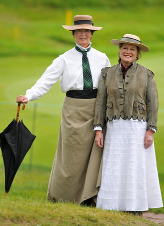 Manchester: Sheila Hill of Manchester,Ma and Joan Kululkundis of Beverly Farms, dressed up as the Curtis Sisters, Margaret and Harriot who founded the tournament in 1932 at the Curtis Cup held at the Essex County Club in Manchester-by-the-Sea.Desi Smith Photo/Gloucester Daily Times. June 13,2010.