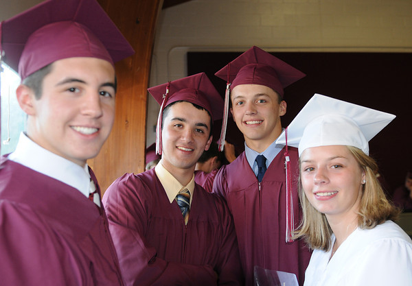 Rockport, Phil MacAther,Robert Nelson,Derick MacDowell and Allie McManus gathered for some last words before heading into the Graduation Ceremony last night at RHS. Desi Smith/Gloucester Daily Times.