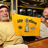 Gloucester:  Mike Taormina and Vito Finazzo say they believe in the Bruins last night at Espresso's Playoff Party.  Desi Smith/Gloucester Daily Times. June 12,2011