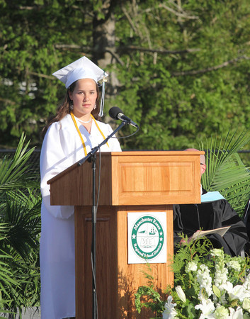 Christine Walder, Valedictorian of the Manchester Essex Regional High School Class of 2011, addresses the crowd during their graduation ceremony yesterday evening. Photo by Kate Glass/Gloucester Daily Times