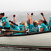 David Le/Gloucester Times. Members of the Donne Del Mare boat named the Pinta, celebrate as they coast to victory in the Junior Girls Seine Boat race on Friday evening. 6/24/11.