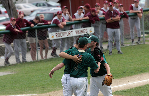 Rockport: Members of the Rockport baseball team watch as Matignon celebrates their 4-2 victory over the Vikings in the first round of the MIAA Division 4 North baseball championship at Evans Field yesterday. Photo by Kate Glass/Gloucester Daily Times