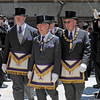 Gloucester: Knights Templars make their way to the front of Temple Ahavat Achim for cornerstone ceremony Sunday afternoon.   Desi Smith/Gloucester Daily Times.