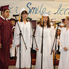 "Rockport, Emery Perez-O'Dess,Tchelsa Grenfell,Emma Ouellette and Melanie Koerth sing Cyndi Lauper's ""Time After"" at the Graduation Ceremony last night at RHS. Desi Smith/Gloucester Daily Times."