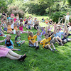 "David Le/Gloucester Daily Times. About 50 children and adults turned out to watch the Sky Pirate Show at Millbrook Meadow Park in Rockport on Wednesday afternoon hosted by Captain Robbie Bones, played by ""Awesome"" Robb Preskins. 6/29/11."