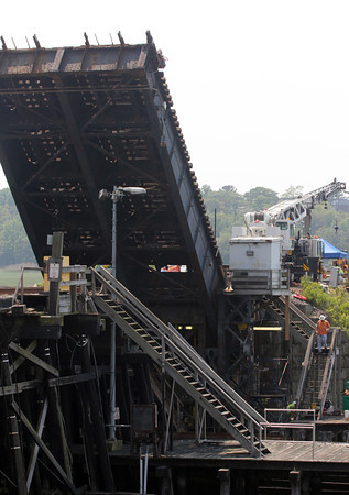 Work on the Annisquam River commuter rail bridge will continue through the weekend, but it is expected to reopen by Monday morning. Photo by Kate Glass/Gloucester Daily Times