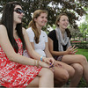 David Le/Gloucester Daily Times. Friends Ariana O'Keefe, left, Eliza Webber, center, and Catherine Ecker, right, all 15 from Hamilton-Wenham, sit and joke around on a warm June afternoon near the Rockport Public Library. 6/28/11.