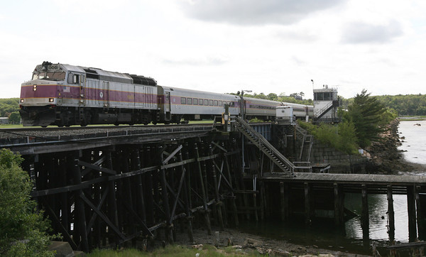 The MBTA Commuter Rail travels over the Annisquam River train bridge, which went back into service yesterday. Photo by Kate Glass/Gloucester Daily Times