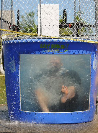 Gloucester:  Umpire/Coach Keith Lebrun spent alot of time in the Drunk Tank Saturday mornig at the Little Leauge Home Run Durby at  Boudreau Field.   Desi Smith/Gloucester Daily Times.