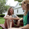 David Le/Gloucester Daily Times. Taylor Ward, left, and Elianna Tobin, both 15 of Hamilton-Wenham, talk on a park bench on Tuesday afternoon. 6/28/11.