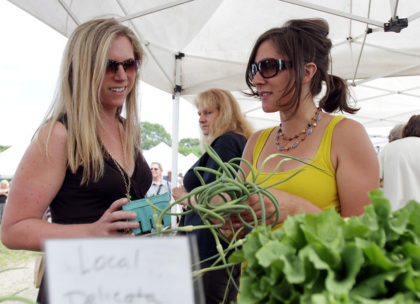 David Le/Gloucester Daily Times. Jessica Eddy, left, of Rockport, talks with Elyse Gordon of Green Meadows Farm about some of the produce for sale at the opening of the Cape Ann Farmer's Market at Stage Fort Park in Gloucester on Thursday afternoon. 6/30/11.
