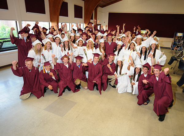 Rockport, The Class of 2011celebrate before the Graduation Ceremony last night at RHS. Desi Smith/Gloucester Daily Times.