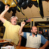 Gloucester:  Mike Taormina and Vito Finazzo react when the Bruins scored in the 1st period last night at Espresso's Playoff Party.  Desi Smith/Gloucester Daily Times. June 12,2011