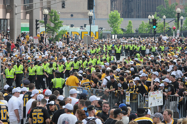 Boston: Hundreds of police were on hand for crowd control of an estimated one millon people at the Bruins Victory Parade Celebration starting at the TD Garden Saturday June 18,2011 starting at the TD Garden. Desi Smith/Gloucester Daily Times.
