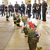 Gloucester: Fire officals pause to remember their fallen brothers during Sundays Memorial Service held at Central Fire Station. Desi Smith/Gloucester Daily Times. June 12,2011