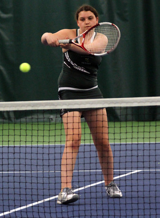 Manchester Essex's Kendall McCormick plays up at the net as the Hornets play Austin Prep in the Quarter Finals fo the Division 3 North Team Tennis Tournament at the Manchester Athletic Club yesterday. Photo by Kate Glass/Gloucester Daily Times