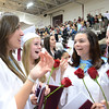 Gloucester:Alea Capello,Emily Ackerman,Cassandra Fosberry and Victoria Hilshey cry happy tears at the end of Graduation, Sunday afternoon held inside at the Benjamin A. Smith Fieldhouse.   Desi Smith/Gloucester Daily Times. June 12,2011