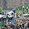Boston: Goalie Tim Thomas starts the parade at thr TD Garden with the Stanley Cup at the Bruins Victory parade held Saturday in Boston. Desi Smith/Gloucester Daily Times. June 18,2011.
