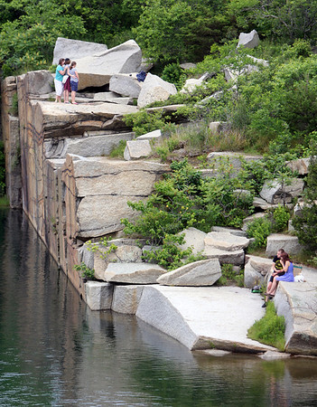 ALLEGRA BOVERMAN/Staff photo. Gloucester Daily Times. Rockport: People were having picnic lunches and posing for photos in Babson Quarry inside Halibut Point State Park on Tuesday afternoon.