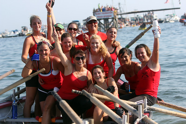 ALLEGRA BOVERMAN/Staff photo. Gloucester Daily Times. Gloucester: Oar'dacious won the women's seine boat race on Friday evening.