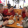 ALLEGRA BOVERMAN/Staff photo. Gloucester Daily Times. Gloucester:U.S. Sen. Scott Brown, left, has lunch at Lobsta Land with various local leaders from Cape Ann on Saturday. From left around him are: City Councilwoman Sefatia Romeo Theken, former seven-term Democratic State Rep. Tony Verga, who endorsed Brown, and City Councilman Bob Whynott.
