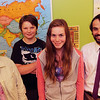"ALLEGRA BOVERMAN/Staff photo. Gloucester Daily Times.  Gloucester: Gloucester Community Arts Charter School students received honorable mention in an international competition recently titled ""Doors to Diplomacy,"" sponsored by globalschool.net and The Department of State. The contest promosts global cultural awareness through the creation of websites by students. Three students from the school teamed up to create a website as an elective class. They competed in the arts and culture category. They were competing against 225 teams of students and teachers from 38 countries. From left are: Laney Lavell, a seventh grader, Charley Olson, a sixth grader, Jade  Barry, an eighth grader, and social studies teacher Christopher Ahearn."