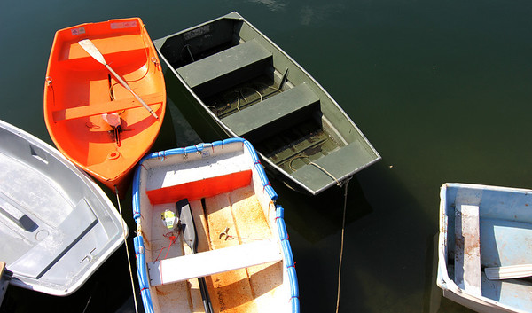 Photo courtesy of David Cutler/Gloucester Daily Times. Rockport: Dinghies in various colors are moored at T-Wharf.
