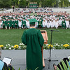 Manchester: Class President Andrew Randall addresses the Class of 2012 at Hyland Field during the Graduation Ceremony at Manchester Essex Regional High School Friday afternoon. Desi Smith/Gloucester Daily Times. June 1,2012