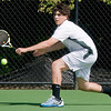 Reading.: Manchester-Essex'sMichael Fuca plays Austin Prep's Brad Rivotto in their semi-finals 1st singles match at Austin Prep in Reading. Jim Vaiknoras