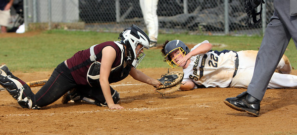 ALLEGRA BOVERMAN/Staff photo. Gloucester Daily Times.  Lowell: Rockport's <br /> Mollie Watson tags  St. Mary's Kaleigh Finigan out at home plate during their game in the Division III North Semifinals held in Lowell on Friday afternoon.