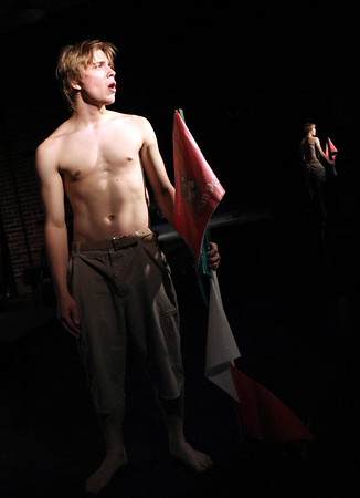 "Allegra Boverman/Staff photographer. Gloucester Daily Times. Gloucester: Timothy ""Cowboy"" Bagley as Filippo Scolafazza in the ""Greasy Pole, the Musical"" finale, ""We All Walk Together When We Walk."""