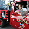 ALLEGRA BOVERMAN/Staff photo. Gloucester Daily Times. Gloucester: Anita Pitts of Beverly, along with her husband Raymond, transformed a 1976 Chevy Pickup into a memorial to the 9/11 attacks. They were participating in the Golden Living Center's annual classic car show on Thursday evening. About 15 classic vehicles were on display.