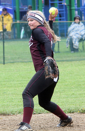 ALLEGRA BOVERMAN/Staff photo. Gloucester Daily Times. Rockport: Rockport's second baseman Amanda Chalmers in action during their game against North Shore Tech on Sunday in Rockport.