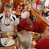 ALLEGRA BOVERMAN/Staff photo. Gloucester Daily Times. Gloucester: U.S. Sen. Scott Brown, second from left, has lunch at Lobsta Land with various local leaders from Cape Ann. Clockwise from left around him are Sen.  Bruce Tarr, City Councilwoman Sefatia Romeo Theken, former seven-term Democratic State Rep. Tony Verga, who endorsed Brown, and City Councilman Bob Whynott.