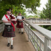 Manchester: Bagpippers lead the way with the Class of 2012 over the bridge to the Graduation Ceremony at Manchester Essex Regional High School Friday afternoon. Desi Smith/Gloucester Daily Times. June 1,2012