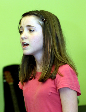 ALLEGRA BOVERMAN/Staff photo. Gloucester Daily Times. Gloucester: Rehearsing her talent show song for the upcoming show is Gloucester Community Arts Charter School sixth grader Joscelyn Shulman. There are 27 acts for the talent show, which will be held on Wed. June 6 from 7-8:30 p.m.