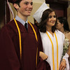 ALLEGRA BOVERMAN/Staff photo. Gloucester Daily Times. Rockport: From left, leading their class in to Rockport High School's commencement on Friday evening are: class vice president Seth Perkins and Emily Ohrtman, class president.