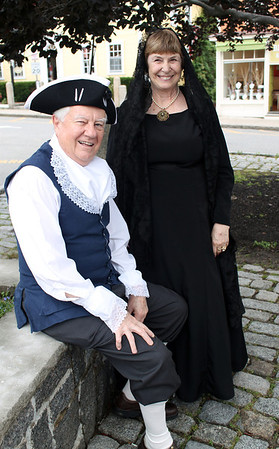 Gail McCarthy/Staff photographer. Rockport: Bob and Barbara Ellis dress in period attire circa 1776.  She dressed as a widow of the era.