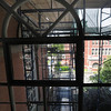 Gloucester: View of scaffolding at City Hall from inside on of the side stairway. JIm Vaiknoras/staff photo