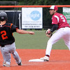 ALLEGRA BOVERMAN/Staff photo. Gloucester Daily Times. Salem: Gloucester's Lenny Zappa in action at second base as Beverly's Anthony DiOrio slides in during their game held at Salem State University on Tuesday afternoon.