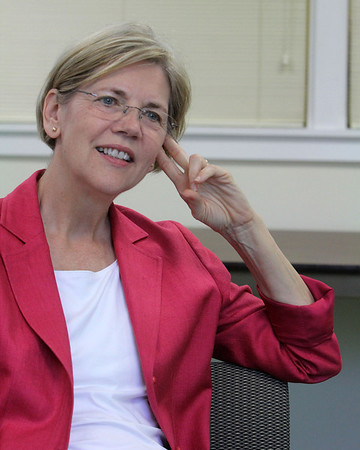 Allegra Boverman/Staff photographer. Gloucester Daily Times. Gloucester: Democratic U.S. Senate candidate and challenger to U.S. Sen. Scott Brown, Elizabeth Warren, speaks with the Gloucester Daily Times on Friday.