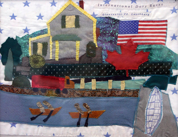 ALLEGRA BOVERMAN/Staff photo. Gloucester Daily Times. Gloucester: A small quilted wallhanging on display at the Rose Baker Senior Center commemorating the 60th Anniversary of the International Dory Races.