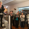 Desi Smith /Gloucester Daily Times.    Icelandic Minister of Industry and Commerce Ragnheiour Elin Arnadottir (on stairs) along with others including Mayor Carolyn Kirk, city council members Melissa Cox and Paul McGeary applaud members of the Icelandic commity (out of frame) who helped devolpe Innovation House, Saturday afternoon at a reception hosted by US Embassy in Iceland and Innovation House on Norman Ave in Magnolia.    March 15,2014.